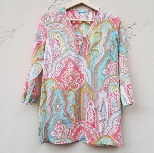 J McLaughlin Pink Blue Paisley Tunic Top Size XS